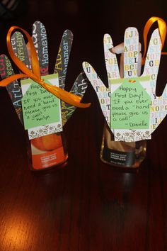 """If you ever need a hand, give us a call"" attached to hand sanitizer bottles. Fun way to give PTA phone numbers as well."