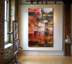 HUGE Original Modern 5 Foot Abstract Art Red by originalmodernart, $1995.00