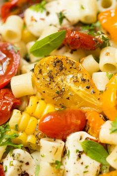 "Roasted Tomato Fresh Mozzarella Pasta ~ If this delicious pasta dish could talk, it would be shouting ""summer""! All of the season's best flavors wrapped up in one bowl! Mozzarella Pasta, Fresh Mozzarella, Salad Recipes, Diet Recipes, Healthy Recipes, Pasta Recipes, Sweets Recipes, Delicious Recipes, Roasted Tomatoes"