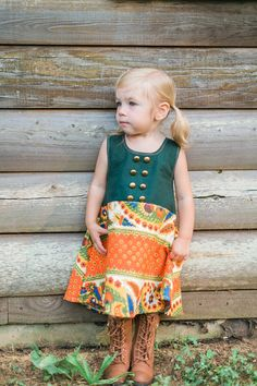 The Dipped Hem Dress Paisley Green and Orange by EWMcCall on Etsy