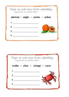 Classement de mots - ordre alphabétique -CE1