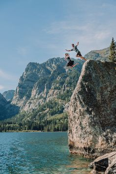 Couple jumping in the water at phelps lake Grand Teton National Park, National Parks, Beautiful Stories, Beautiful Places, Teton Mountains, Whitewater Rafting, Outfit Ideas, Couple, Adventure