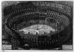 Veduta dell`Anfiteatro Flavio detto il Colosseo a volo d`uccello, incisione