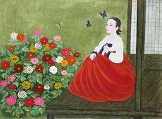 Korean elegance woman by Bak Yeun-ok. 박연옥 작/ 그림의 색감이 너무 예뻐서 볼 때 마다 감탄한다. 색감도 곱지만 여인의 모습도 말 그대로 미인도의 미인이다. 색깔 고운 다홍 치마를 곱게 차려 입고 고름에 단아하게 손을 얹은 여인.