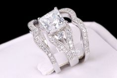 Sterling Silver Princess Cut Engagement Wedding Ring Set