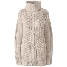 Lands' End Women's Plus Size Cable Turtleneck Sweater - Shaker ($69) ❤ liked on Polyvore featuring plus size women's fashion, plus size clothing, plus size tops, plus size sweaters, tan, turtle neck sweater, pink turtleneck sweater, cable knit turtleneck sweater and tan sweater