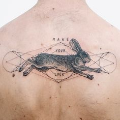 Make your luck - stipple rabbit running on shoulder blades. Thanks Kyle!