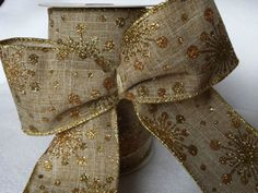 2-5-63mm-Wired-glitter-snowflake-Christmas-Ribbon-Hessian-Jute-Cake-Wreath-tree