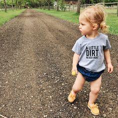 SALE A Little Dirt Never Hurt Shirt Kids Graphic Tee