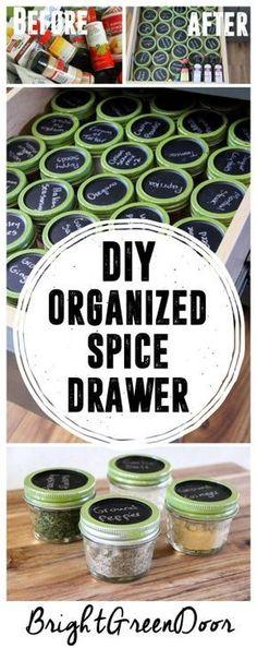 Simple Spice Organization, Organized Spice Drawer, Organizing with Mason Jars. http://www.BrightGreenDoor.com