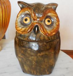 Vintage Leather Covered Ceramic Owl Humidor  Made in Italy