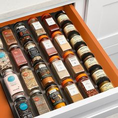 Easily organize and grab from your spice collection with the Youcopia SpiceLiner Spice Drawer Organizer. The soft, non-slip liner holds more than 24 spices in place, allowing you to see all your favorite seasonings in a glance while cooking. Spice Rack Glass, Drawer Spice Rack, Spice Rack Organization, Organization Hacks, Do It Yourself Organization, Organizing Your Home, Mccormick Spices, Spice Bottles, Kitchen Drawers