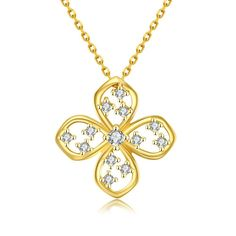 Gold Plated Four-Sided Necklace, Women's