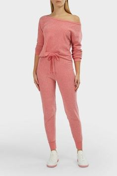 Wildfox Jack High-waist Ribbed Joggers In Pink Off Duty, Wildfox, High Waist, Joggers, Jumper, Jumpsuit, Pairs, Cotton, Shopping