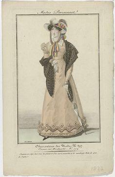 Observateur des Modes, 1823, No. 297 : Modes Parisiennes : Chapeau en crêpe..., Aaron Martinet, 1823