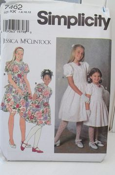 Simplicity 7462 Girl's Sewing Pattern Jessica by WitsEndDesign