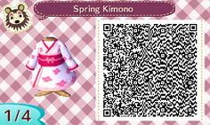 Spring Kimono ~ white and pink ~ acnl qr code