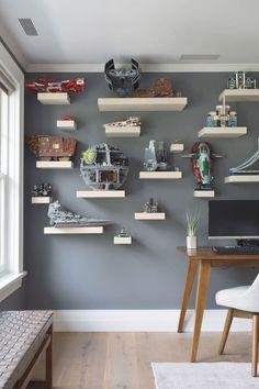 Lego Room Decor, Star Wars Room Decor, Star Wars Bedroom, Lego Bedroom, Lego Shelves, Lego Storage, Bb 8 Wallpaper, Guest Room Office, Deco Design