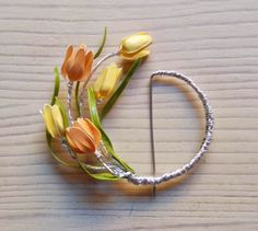 wire and nail polish jewelry: tulip brooch