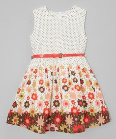 Another great find on #zulily! White Polka Dot & Floral Belted Dress - Toddler & Girls #zulilyfinds