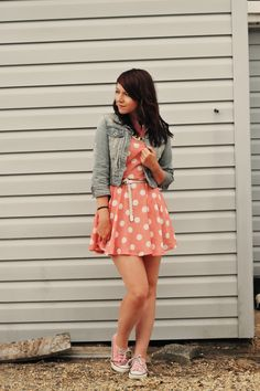 Love the dress, jacket and converse! girl next door fashion outfit