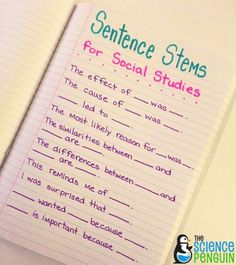 Social Studies Sentence Stems help students understand what it is that they are learning and communicate about it, helps students with special needs and provides focus for lessons. social studies Starting Out with Sentence Stems 7th Grade Social Studies, Social Studies Notebook, Social Studies Classroom, Social Studies Activities, History Classroom, Teaching Social Studies, History Teachers, Teaching History, History Education