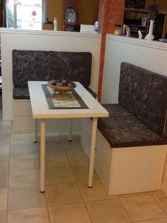IKEA HACK BENCHES Ikea stolmen chests, vika amon table + legs, ikea stockholm blad fabric in beige