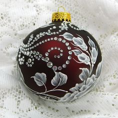 Deep Red Hand Painted 3D Floral MUD Ornament with by TheMUDLady, $35.00