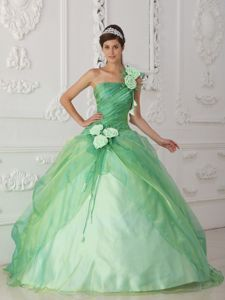 One Shoulder Beading Hand Flower Apple Green Quinceanera Gown