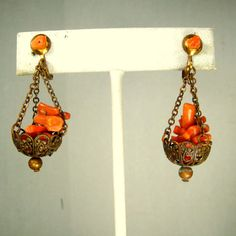 Coral Branch Dangle Earrings 1950s Vintage Screwback Hanging