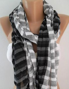 Black Gray White  Cotton Scarf  Classy  Scarf by womann on Etsy, $15.50