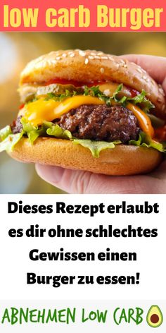 Do you want to lose weight with super delicious recipes? Then try this low carb burger! Do you want to lose weight with super delicious recipes? Then try this low carb burger! No Calorie Foods, Low Calorie Recipes, No Carb Diets, Diet Recipes, Healthy Meal Prep, Healthy Dinner Recipes, Healthy Snacks, Delicious Recipes, The Best Burger