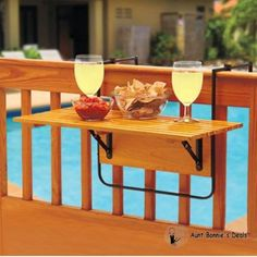 Pool Wood Deck Decor Table Natural Folding Patio Balcony Hanging Serving Tray