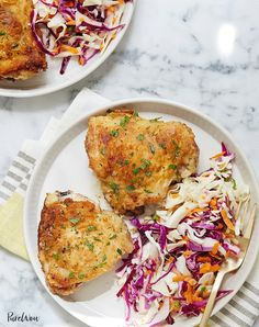 Parmesan-Ranch Chicken Thighs via News flash: Roast chicken doesn't have to be boring. So instead of throwing the whole bird into the oven again, get creative. Try a different cut that's seasoned perfectly. Like our Parmesan-ranch chicken thighs recipe. Easy Chicken Thigh Recipes, Chicken Recipes For Kids, Low Carb Chicken Recipes, Cooking Recipes, Healthy Recipes, Cooking Food, Healthy Food, Recipe Chicken, Dinner Healthy