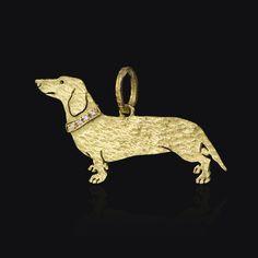 Ciondolo in oro giallo satinato 750. #cani #gatti #ciondolo #handmade #sacchi #JustCorgis
