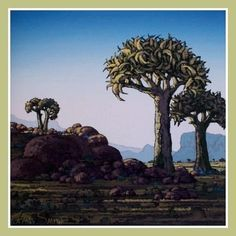 Johan Smith - Laatmiddag Kokerbome South African Artists, Contemporary Landscape, Little Birds, Tree Art, Natural World, Painters, Landscapes, Trees, Outdoors