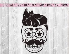 SVG Hipster SUGAR SKULL digital vector cutting file logo svg
