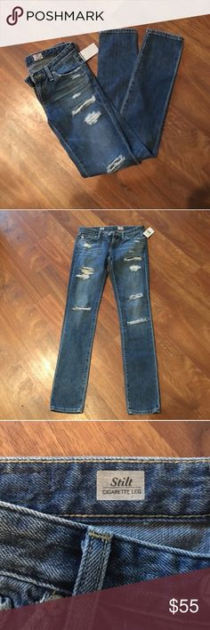 AG stilt cigarette leg destroyed jeans Size 25, purchased on posh, but my fat @$$ can't even get them over my booty. Been trying to lose 5lbs for 10 years so is time to be honest with myself and just sell the damn jeans. Offers accepted! Ships immediately! AG Adriano Goldschmied Jeans Skinny