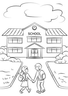 School building PreK School coloring pages, Cool
