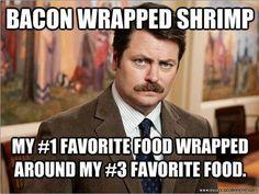 Bacon Wrapped Shrimp #parksandrec #food #funny