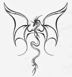 Flying Dragon. Free tattoo stencil
