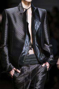 Haider Ackermann Spring 2013   leather inside layer, belt, pattern.