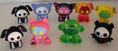 Lot Of 9 Skelanimals Vinyl Figures- Dax-Kitty Cat-Monkey-Bear-Bat 2007 and 2009 #Toynami