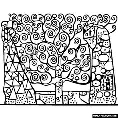 Gustav Klimt's Tree of Life Coloring Page