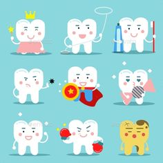 Buy Human Teeth Characters by Happypictures on GraphicRiver. Different Human Teeth Characters vector illustration in flat style Cute Funny Cartoons, Funny Cartoon Characters, Dental Clinic Logo, Dental Humor, Hamster Cartoon, Happy Dental, Tooth Cartoon, Teeth Logo, Tooth Fairy Box