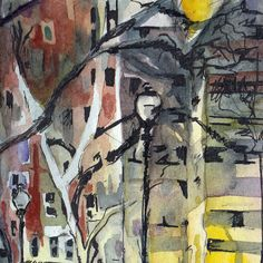 Watercolor and Ink Painting of a City Park Be by JenTheTracy
