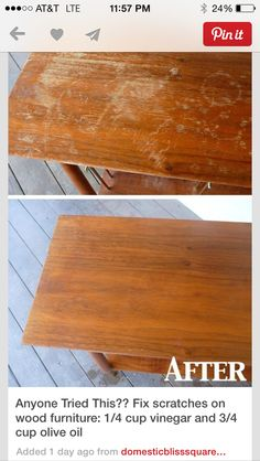 Cup Vinegar Cup Olive Oil Wood Scratch Fix! I Have The Perfect Table To Try  This On.
