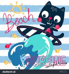 Cute surfer cat and big wave on blue and white striped background illustration vector.