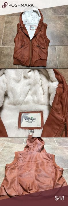 🌿 Faux Leather Winter Vest Brand: Papaya Size: Medium Color: Light brown Condition: Great, no flaws.   ••• Add a vest to you closet for winter time this year! Show off this piece with it's beautiful brown leather and white interior. Super soft to the touch and will keep you cozy! Zip up and hoodie vest. (SUPER SOFT) •••  ✨ Check out my closet for more cute items!  I ALWAYS DISCOUNT BUNDLES!  ✨ Papaya Jackets & Coats Vests