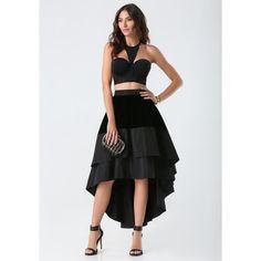 Velvet Hi-Lo Skirt ($159) ❤ liked on Polyvore featuring skirts, bebe, short front long back skirt, velvet skirt, high-low skirt and zipper skirt